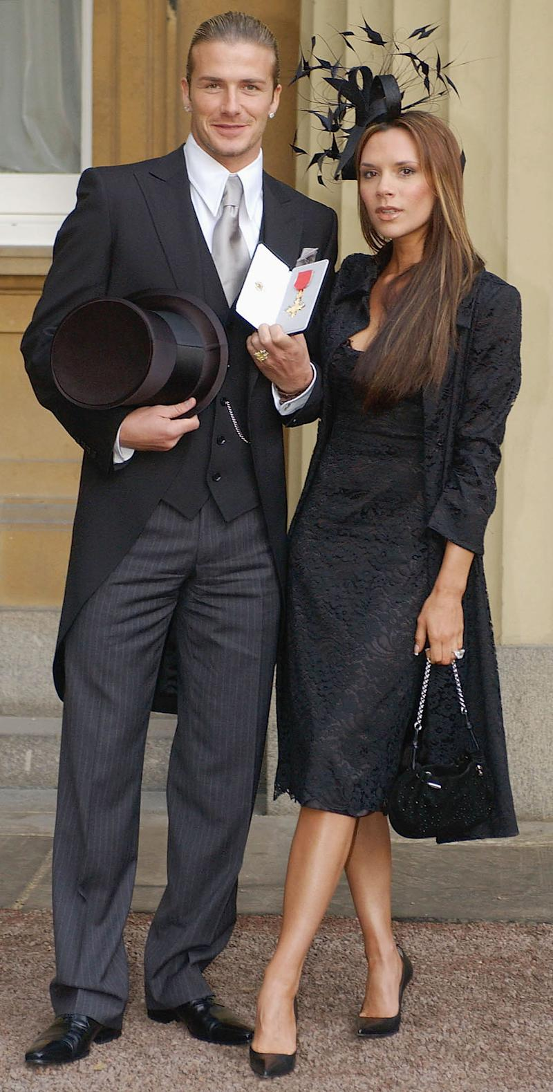 David Beckham received an OBE at Buckingham Palace on November 27, 2003 [Photo: Getty]