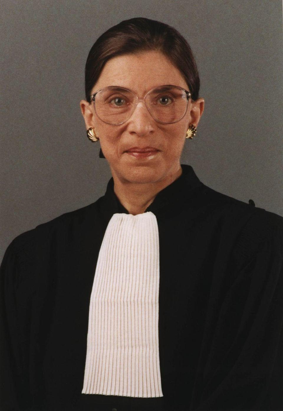 """<p>When she first took her seat on the bench in 1993, Ginsburg stuck to styles that were devoid of embellishment and frills. Back then, she <a href=""""https://www.latimes.com/archives/la-xpm-1993-06-15-mn-3237-story.html"""" rel=""""nofollow noopener"""" target=""""_blank"""" data-ylk=""""slk:followed moderate views"""" class=""""link rapid-noclick-resp"""">followed moderate views</a>. Over the years, her stance on issues became more progressive, and so did her choice in collars. </p>"""