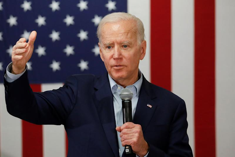 Democratic 2020 U.S. presidential candidate and former U.S. Vice President Joe Biden speaks at a campaign event at the VFW Post 7920 in Osage, Iowa, U.S., January 22, 2020. REUTERS/Shannon Stapleton