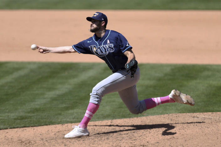 Tampa Bay Rays' Ryan Thompson throws to an Oakland Athletics batter during the seventh inning of a baseball game in Oakland, Calif., Sunday, May 9, 2021. (AP Photo/Jed Jacobsohn)
