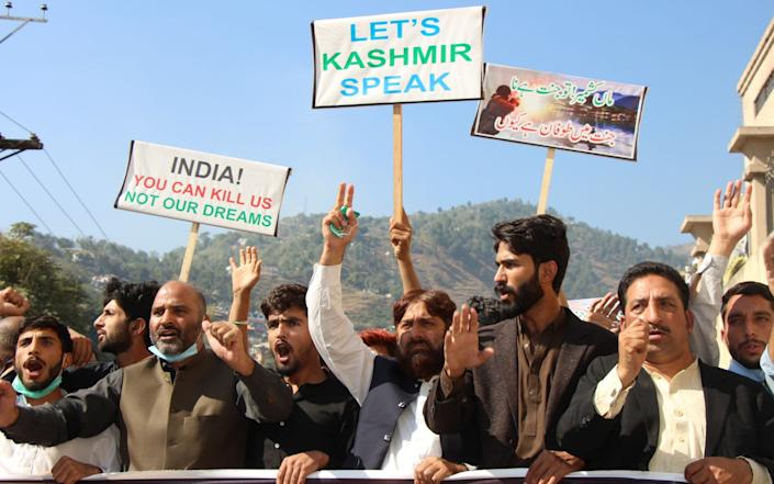Kashmiri refugees hold a rally to mark India's annexation of the disputed region of Jammu and Kashmir - Chudary Naseer/Anadolu Agency via Getty Images