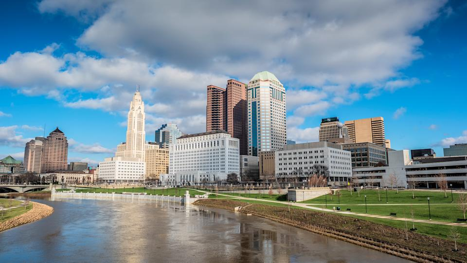 This is a photograph of the Columbus, Ohio skyline taken from near Bicentennial Park on the winter solstice, 2015.