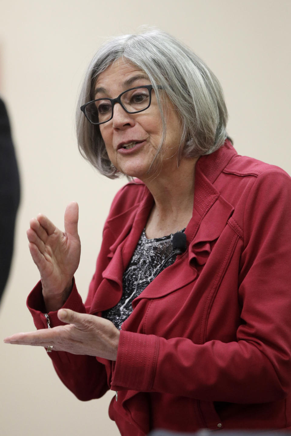 Senate candidate Susan Wagle answers a question during a GOP senatorial debate In Manhattan, Kan., Saturday, May 23, 2020. (AP Photo/Orlin Wagner)