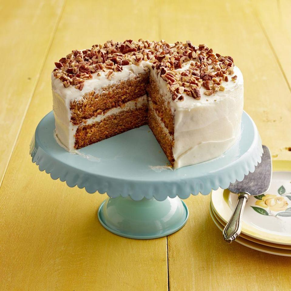 "<p>Try this recipe for a classic carrot cake that Ree was given from her mom's closest friend. You can make it a sheet cake, bundt cake, or layered cake like this.</p><p><strong><a href=""https://www.thepioneerwoman.com/food-cooking/recipes/a11735/sigrids-carrot-cake-perfect-for-easter/"" rel=""nofollow noopener"" target=""_blank"" data-ylk=""slk:Get Ree's recipe."" class=""link rapid-noclick-resp"">Get Ree's recipe.</a></strong></p><p><strong><a class=""link rapid-noclick-resp"" href=""https://go.redirectingat.com?id=74968X1596630&url=https%3A%2F%2Fwww.walmart.com%2Fsearch%2F%3Fquery%3Dcake%2Bstand&sref=https%3A%2F%2Fwww.thepioneerwoman.com%2Ffood-cooking%2Fmeals-menus%2Fg35408493%2Feaster-desserts%2F"" rel=""nofollow noopener"" target=""_blank"" data-ylk=""slk:SHOP CAKE STANDS"">SHOP CAKE STANDS</a><br></strong></p>"
