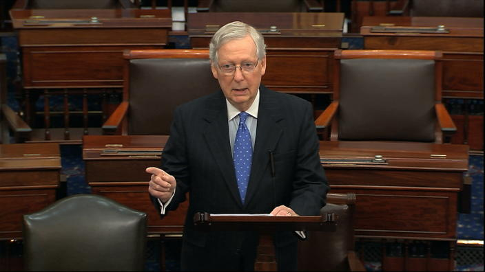 Senate Majority Leader Mitch McConnell of Ky., speaks on the Senate floor, Thursday, Dec. 19, 2019 at the Capitol in Washington. (Photo: Senate TV via AP)