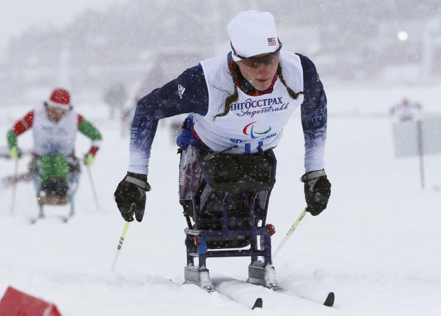 Tatyana McFadden of the U.S. skis during the women's 1 km sprint cross-country sitting event at the 2014 Sochi Paralympic Winter Games in Rosa Khutor, March 12, 2014. REUTERS/Alexander Demianchuk (RUSSIA - Tags: SPORT OLYMPICS SKIING)