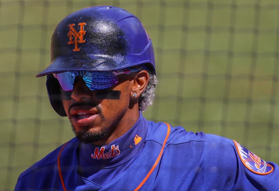 PORT ST. LUCIE, FLORIDA - MARCH 19: A general view of the Oakley sunglasses worn by Francisco Lindor #12 of the New York Mets against the St. Louis Cardinals in a spring training game at Clover Park on March 19, 2021 in Port St. Lucie, Florida. (Photo by Mark Brown/Getty Images)