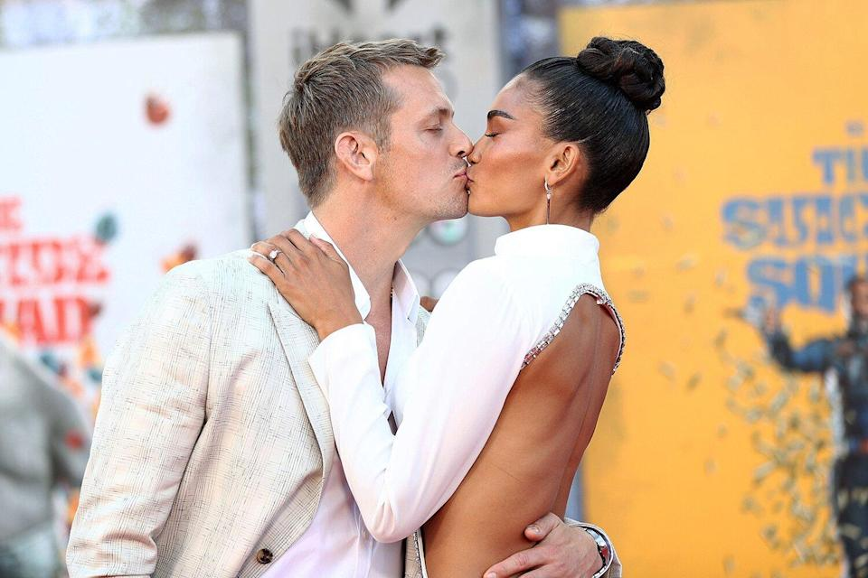 """Joel Kinnaman and Kelly Gale attend the Warner Bros. premiere of """"The Suicide Squad"""" at Regency Village Theatre on August 02, 2021"""