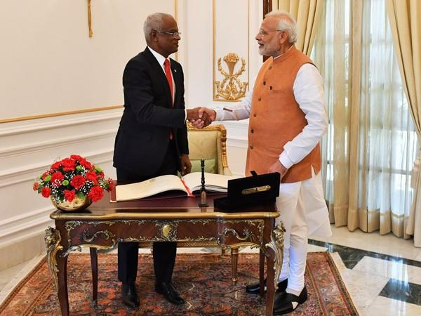 Maldivian President Ibrahim Mohamed Solih with Prime Minister Narendra Modi during the forrmer's visit to India in December 2018. (File photo)