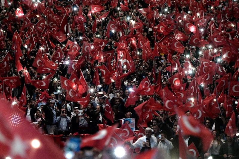 Supporters of Turkish President Recep Tayyip Erdogan wave the Turkish national flag during a political rally in Strasbourg, eastern France, on October 4, 2015 (AFP Photo/Frederick Florin)