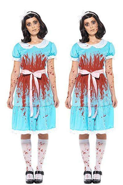 """<p>Bringing those blood-covered sinister twins from <em>The Shining</em> to life will be downright terrifying. </p><p><a class=""""link rapid-noclick-resp"""" href=""""https://www.amazon.com/Smiffys-Bloody-Murderous-Adult-Costume-Large/dp/B07CQW5MFN/?tag=syn-yahoo-20&ascsubtag=%5Bartid%7C10070.g.28669645%5Bsrc%7Cyahoo-us"""" rel=""""nofollow noopener"""" target=""""_blank"""" data-ylk=""""slk:SHOP COSTUME"""">SHOP COSTUME</a> </p>"""
