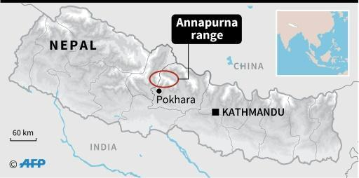 Map locating the Annapurna range