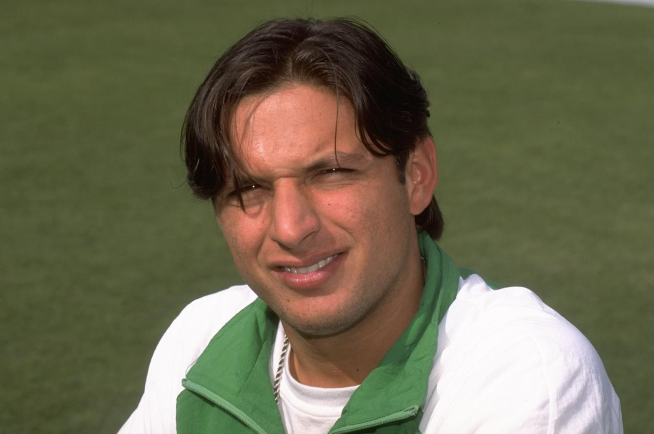11 Dec 1997:  A portrait of Shahid Afridi of Pakistan during the Singer Champions Trophy in Sharjah, United Arab Emirates. \ Mandatory Credit: Graham Chadwick /Allsport