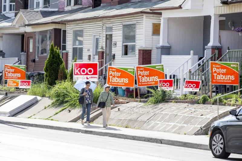 Election signs in Toronto. (Carlos Osorio/Toronto Star via Getty Images)