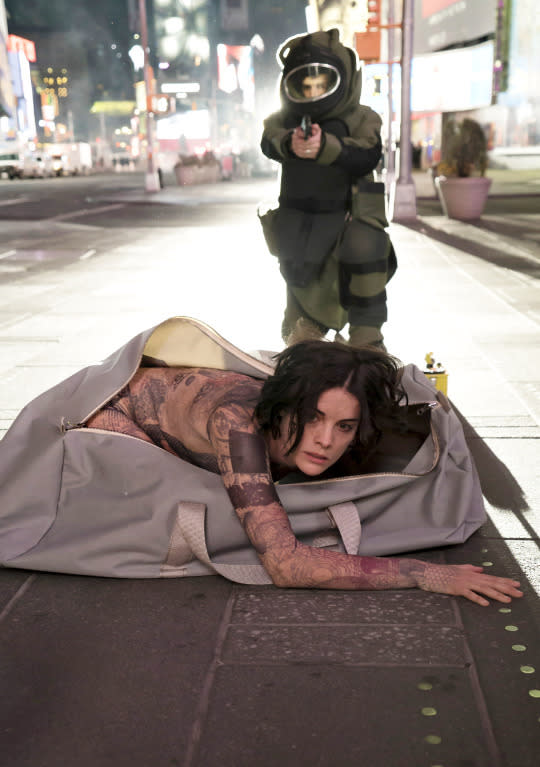 <p>Wanna get the audience hooked on your show right out of the gate? Open your pilot with the lead character unzipping herself from an oversized duffle bag in the middle of Times Square. While naked. It helps, of course, if your lead character is played by Jaimie Alexander, whose striking appearance and piercing gaze made viewers eager to see what mysteries were emblazoned on her body in the form of inscrutable tattoos. After that gripping opening sequence, it's no wonder that so many viewers were all-in on <i>Blindspot</i>, making it one of the fall season's biggest success stories. — <i>EA</i></p><p><i>(Credit: Virginia Sherwood/NBC)</i></p>