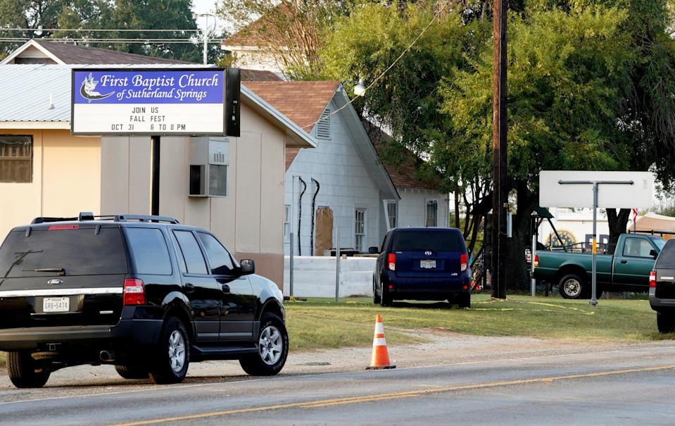 The site of a shooting at the First Baptist Church of Sutherland Springs, Texas (Reuters/Rick Wilking)