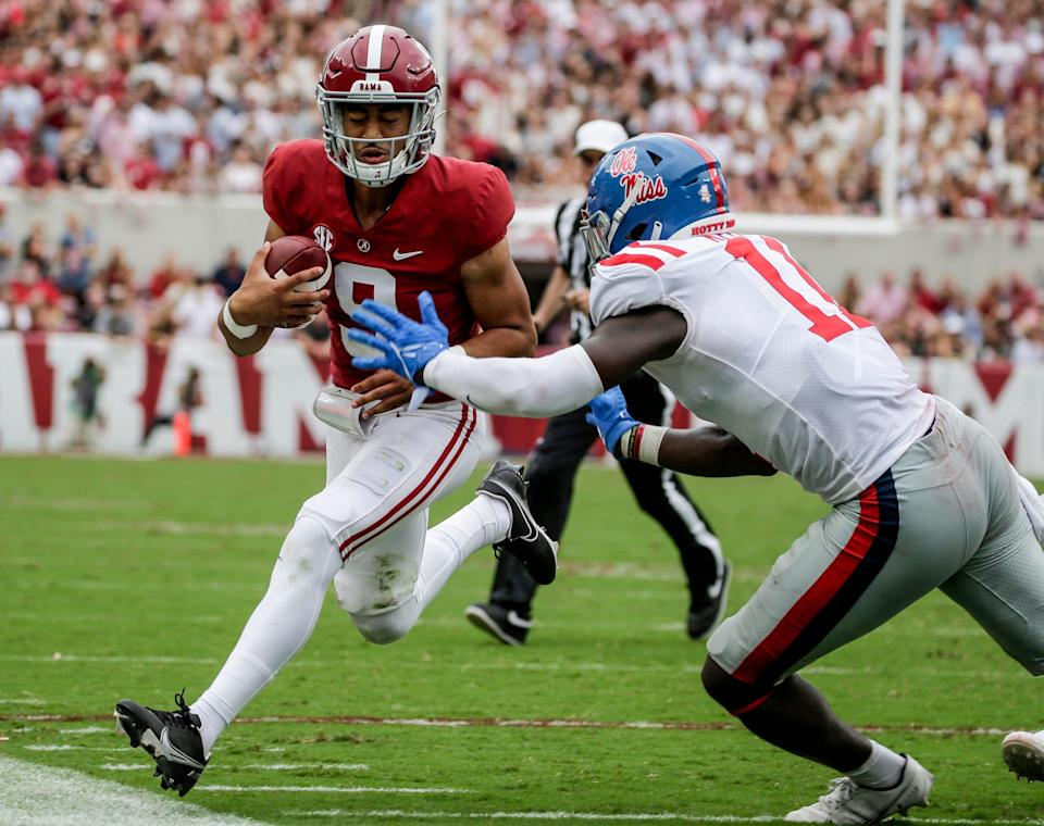Crimson Tide quarterback Bryce Young is in the driver's seat for the Heisman Trophy after throwing for nearly 250 yards against the Rebels.