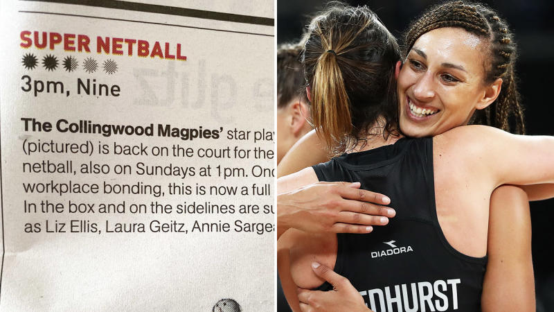 The Age's netball preview, pictured here in the TV Guide.