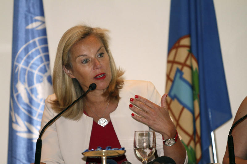 "Sigrid Kaag of the Organization for the Prohibition of Chemical Weapons speaks during a press conference in Damascus, Syria on Sunday, April 27, 2014. Kaag told reporters in Damascus that 92.5 percent of Syria's chemical materials had been removed from the country and destroyed. She described it as ""significant progress,"" though she says the government needs to ensure the remaining materials are eradicated by the end of the month. (AP/Photo)"