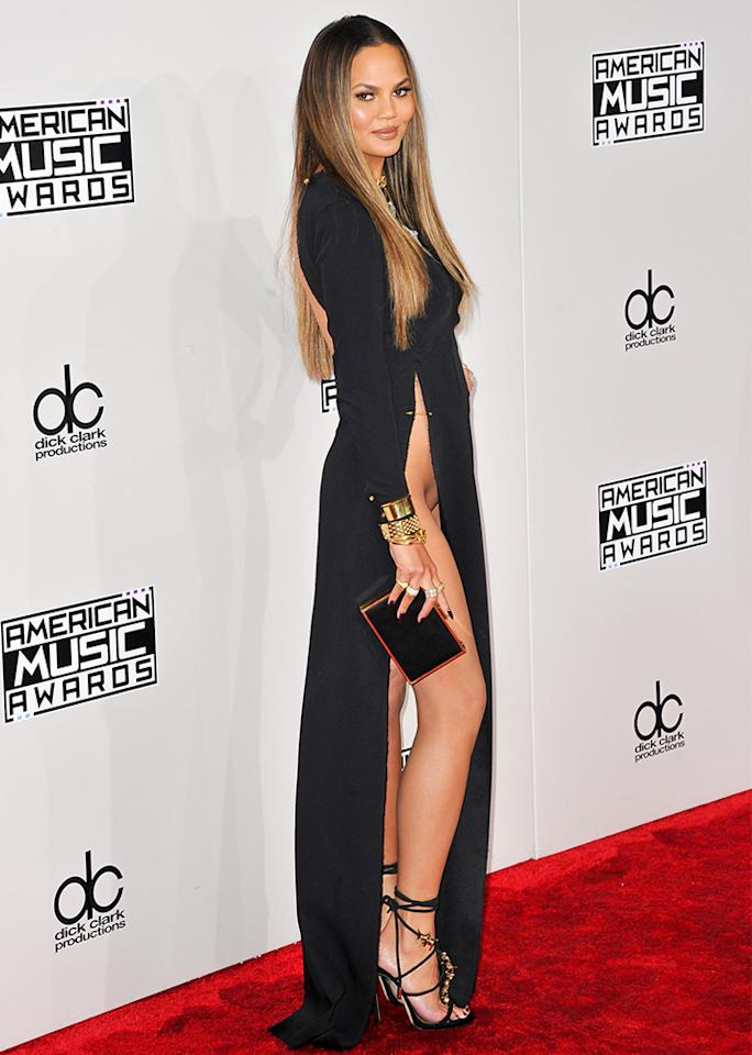"""Possibly <a rel=""""nofollow"""" href=""""http://stylecaster.com/chrissy-teigen-wardrobe-malfunction/"""">the most notorious celebrity wardrobe malfunction</a> of all time, at the American Music Awards last year."""
