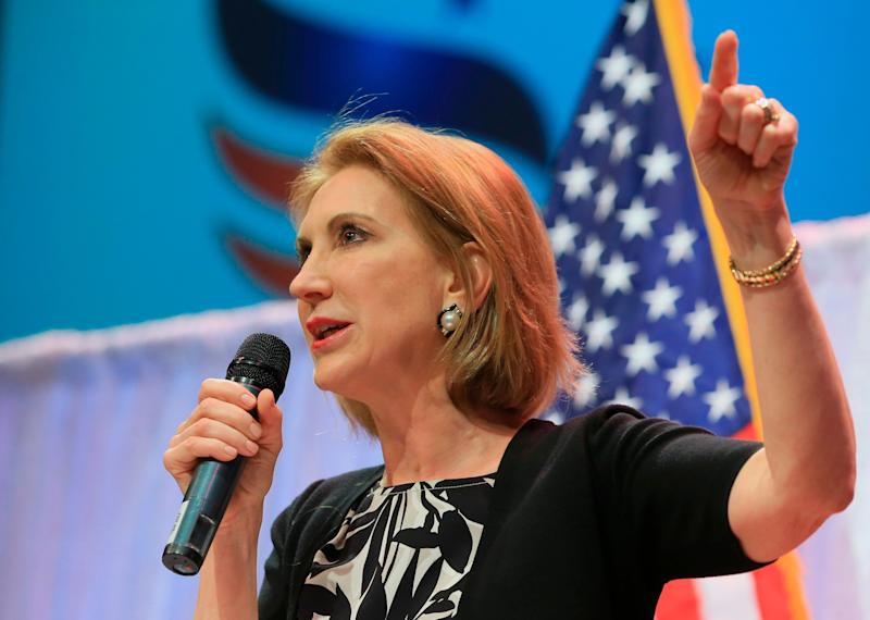 """Fiorina <a href=""""http://www.huffingtonpost.com/entry/carly-fiorina-suspends-campaign_us_563c326ae4b0411d30708c05"""">suspended her campaign</a> Feb. 10, 2016."""