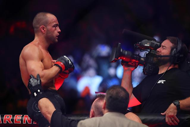 Eddie Alvarez celebrates his third-round TKO Saturday of Justin Gaethje at UFC 218 in Detroit. (Getty Images)