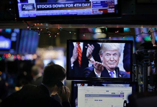 PHOTO: A picture of President Donald Trump is displayed on a computer on the floor of the New York Stock Exchange in New York, Dec. 24, 2018. (Seth Wenig/AP)