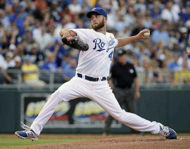 Kansas City Royals starting pitcher Danny Duffy throws during the first inning of a baseball game against the New York Yankees Saturday, June 7, 2014, in Kansas City, Mo. (AP Photo/Charlie Riedel)