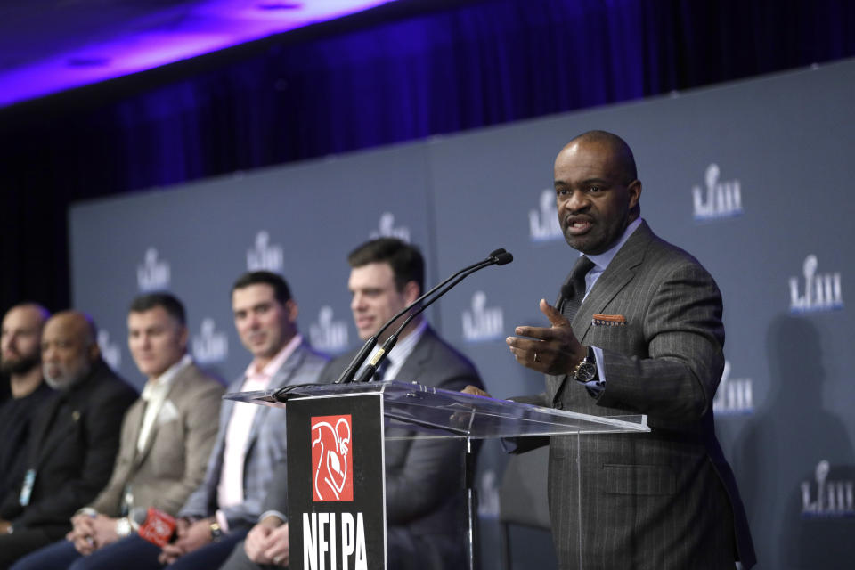 The player's union won't vote on Friday on a proposed CBA. (AP Photo/David J. Phillip)