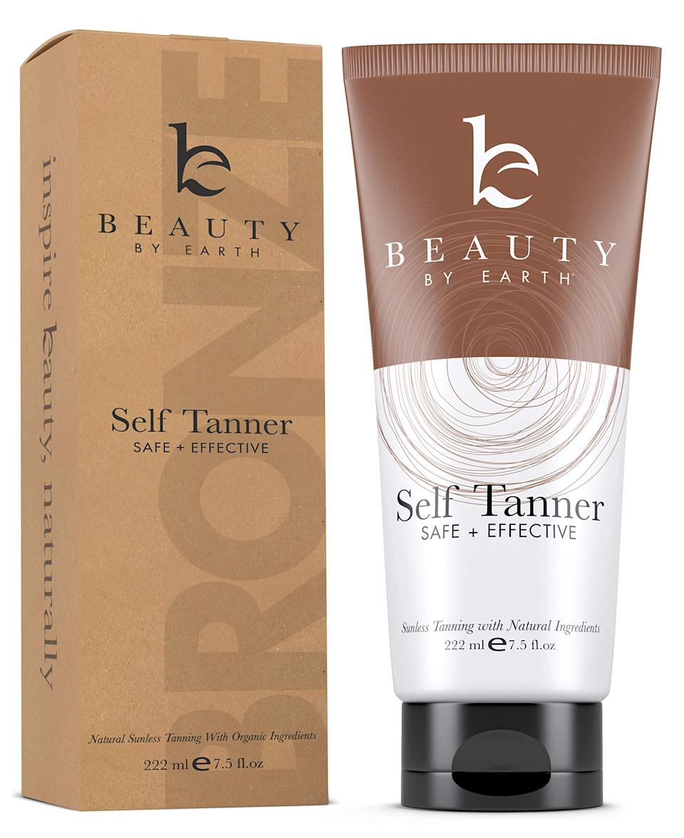 """<h3>Beauty by Earth Self Tanner<br></h3><br><strong>The Vegan Self Tanner</strong><br><br>We live for an indie find, and Beauty By Earth's sleeper hit hasn't been lost on the more than 3,000 folks who have reviewed it on Amazon. Even better: Botanical ingredients like organic aloe vera leaf juice, shea butter, and green tea extract make it extra gentle on skin.<br><br><strong>The Hype:</strong> 4.3 out of 5 stars and 5,811 reviews on <a href=""""https://amzn.to/3b1LpNC"""" rel=""""nofollow noopener"""" target=""""_blank"""" data-ylk=""""slk:Amazon"""" class=""""link rapid-noclick-resp"""">Amazon</a><br><br><strong>Reviewers Say: </strong>""""Hands down, the best self-tanner out there. I've tried them all — don't waste your money on anything else. This is the most natural-looking tan I've ever seen. It works gradually, which I love, and is buildable, so if you feel like you want a little more color, just apply some more. A LITTLE GOES A LONG WAY! The first time I applied it, I used too much — and I was so bummed that I had wasted the product! I learned the next time. And when you put it on, it will seem like you're rubbing and rubbing and it's not absorbing into your skin - this is actually the thing I love most about the product. You have time to apply it and actually SEE where it's going. You'll get the most even tan ever! And it's so moisturizing! I can't say enough...I don't write many reviews - but I had to with this."""" — Sharon Clausen, Amazon Reviewer<br><br><strong>Beauty by Earth</strong> Self Tanner with Organic & Natural Ingredients, $, available at <a href=""""https://amzn.to/3b1LpNC"""" rel=""""nofollow noopener"""" target=""""_blank"""" data-ylk=""""slk:Amazon"""" class=""""link rapid-noclick-resp"""">Amazon</a>"""