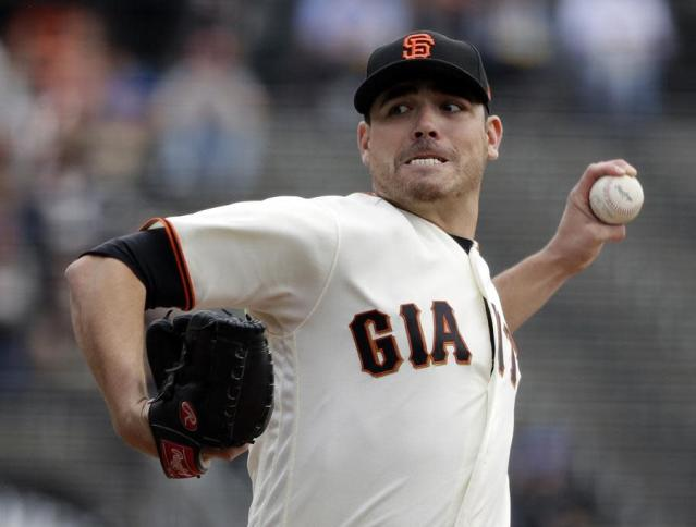 "The <a class=""link rapid-noclick-resp"" href=""/mlb/teams/sfo/"" data-ylk=""slk:San Francisco Giants"">San Francisco Giants</a> have traded starting pitcher <a class=""link rapid-noclick-resp"" href=""/mlb/players/8873/"" data-ylk=""slk:Matt Moore"">Matt Moore</a> to the <a class=""link rapid-noclick-resp"" href=""/mlb/teams/tex/"" data-ylk=""slk:Texas Rangers"">Texas Rangers</a>, thus saving $9 million in salary space. (AP)"