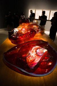 Chihuly Studio's 'Red Garnet Baskets' at the Glass In Bloom gallery. Photo: Coconuts
