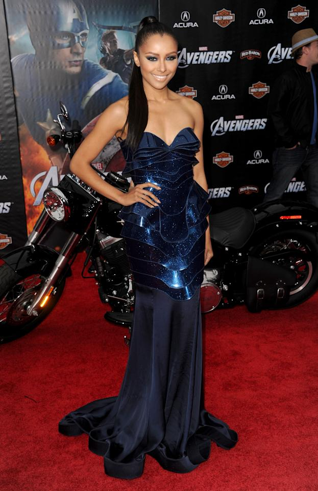 "HOLLYWOOD, CA - APRIL 11:  Actress/singer Kat Graham arrives at the premiere of Marvel Studios' ""The Avengers"" at the El Capitan Theatre on April 11, 2012 in Hollywood, California.  (Photo by Kevin Winter/Getty Images)"