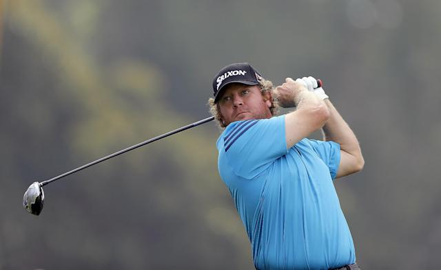 William McGirt drives on the ninth tee during the third round of the Northern Trust Open golf tournament at Riviera Country Club in the Pacific Palisades area of Los Angeles Saturday, Feb. 15, 2014. (AP Photo/Reed Saxon)