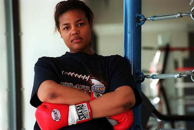 Boxer Freeda Foreman, daughter of former heavyweight champion George Foreman, poses for a portrait at America Presents Gym in Denver. (Photo By Craig F. Walker/The Denver Post via Getty Images)