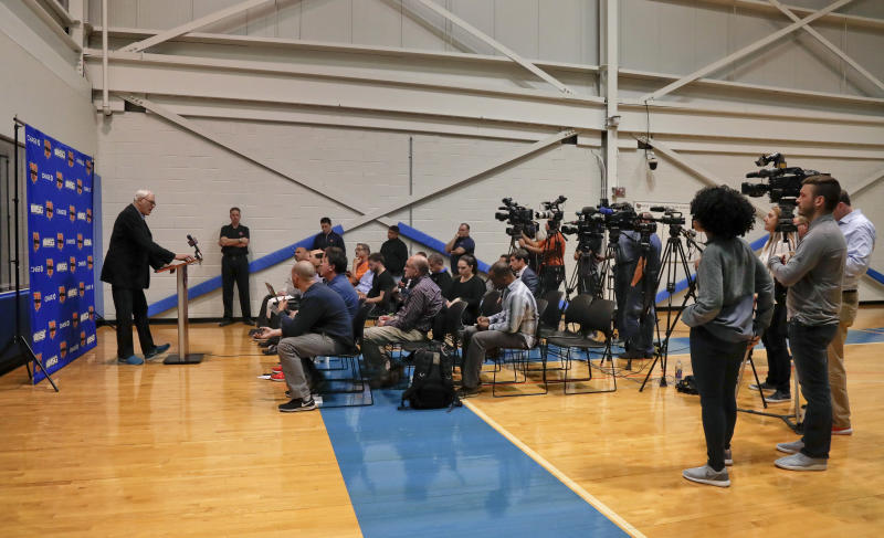 New York Knicks president Phil Jackson answers questions during a news conference at the team's training facility, Friday, April 14, 2017, in Greenburgh, N.Y. (AP Photo/Julie Jacobson)