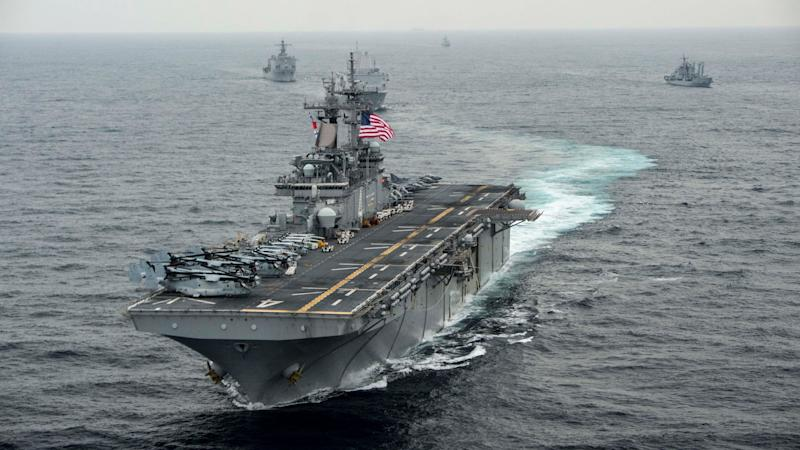 The amphibious assault ship USS Boxer 'took defensive action' the president said. (AFP/Getty Images (File image))