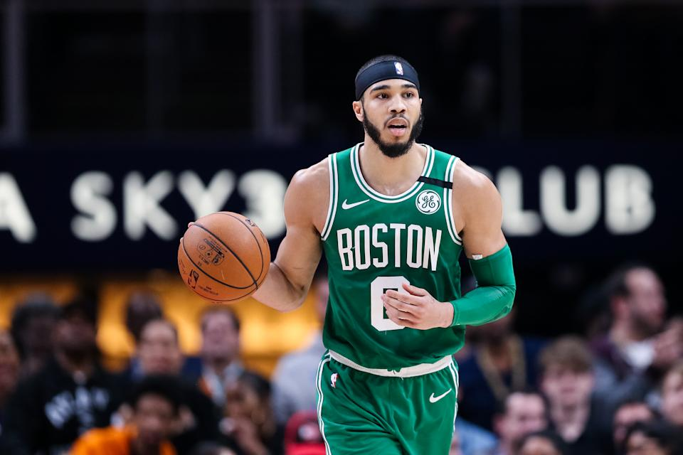 ATLANTA, GA - FEBRUARY 3: Jayson Tatum #0 of the Boston Celtics controls the ball during a game against the Atlanta Hawks at State Farm Arena on February 3, 2020 in Atlanta, Georgia. NOTE TO USER: User expressly acknowledges and agrees that, by downloading and or using this photograph, User is consenting to the terms and conditions of the Getty Images License Agreement. (Photo by Carmen Mandato/Getty Images)