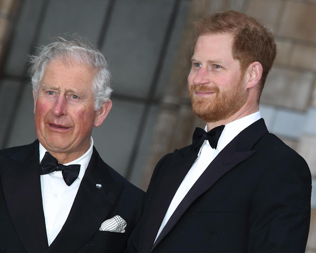 LONDON, UNITED KINGDOM - 2019/04/04: HRH Prince Harry with HRH Prince Charles at the World Premiere of Netflix's Our Planet at the Natural History Museum, Kensington. (Photo by Keith Mayhew/SOPA Images/LightRocket via Getty Images)