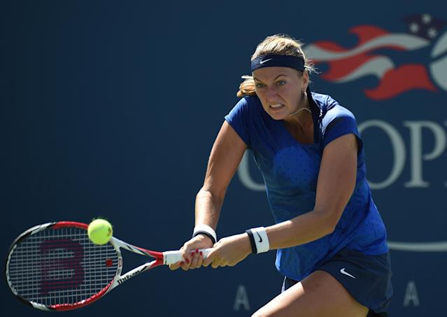 Petra Kvitova of the Czech Republic plays against Aleksandra Krunic of Serbia during their 2014 US Open women's singles match on August 30, 2014 in New York (AFP Photo/Timothy A. Clary)