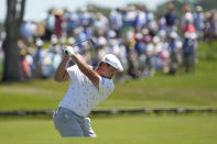 Bryson DeChambeau takes his second shot on the second hole during the first round of the PGA Championship golf tournament on the Ocean Course Thursday, May 20, 2021, in Kiawah Island, S.C. (AP Photo/David J. Phillip)