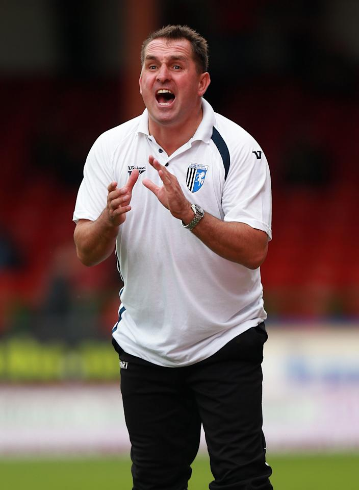 Gillingham manager Martyn Allen during the Sky Bet Football League One match at the County Ground, Swindon.