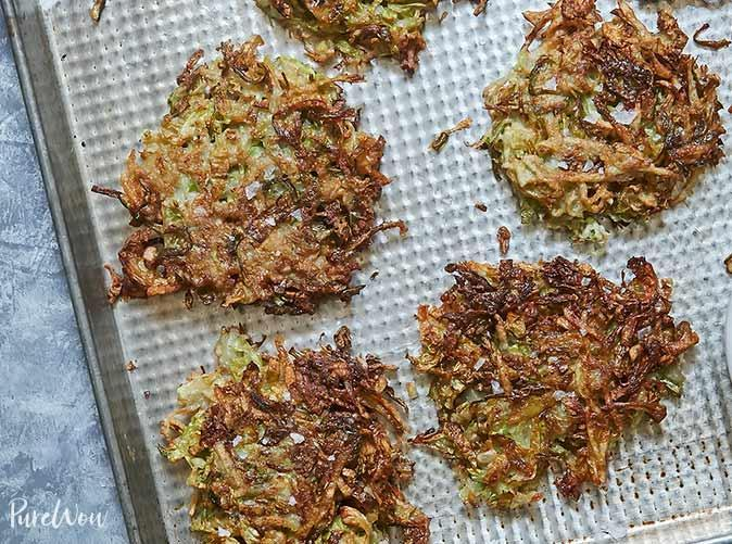 """<h2>5. Brussels Sprouts Latkes</h2> <p>Presenting the crispiest Brussels you'll ever taste. Hold the sour cream.</p> <p><a class=""""link rapid-noclick-resp"""" href=""""https://www.purewow.com/recipes/brussels-sprouts-latkes-recipe"""" rel=""""nofollow noopener"""" target=""""_blank"""" data-ylk=""""slk:Get the recipe"""">Get the recipe</a></p>"""