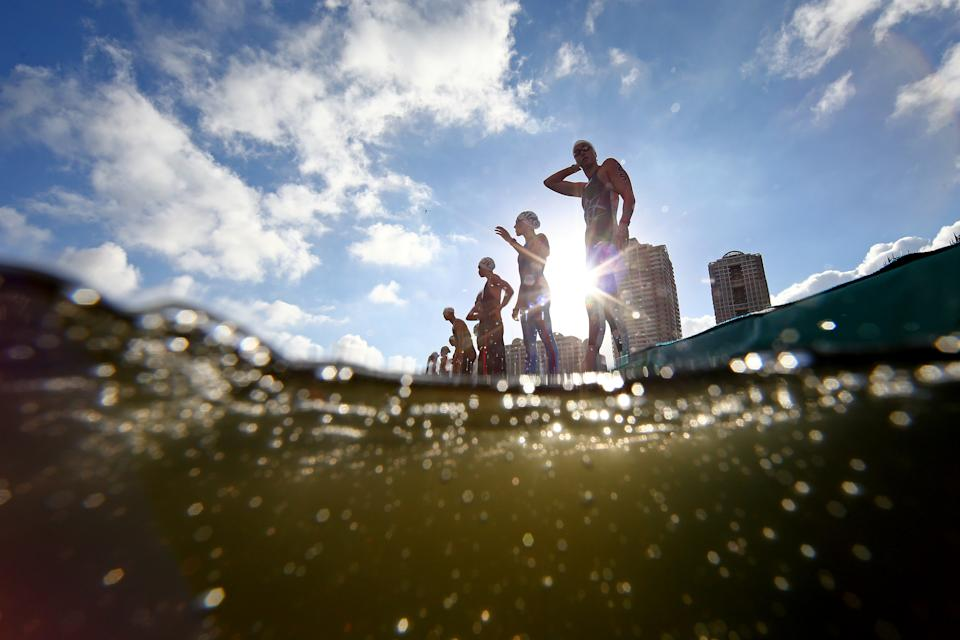 <p>TOKYO, JAPAN - AUGUST 04: Swimmers prepare to start the race in the Women's 10km Marathon Swimming on day twelve of the Tokyo 2020 Olympic Games at Odaiba Marine Park on August 04, 2021 in Tokyo, Japan. (Photo by Antonio Bronic - Pool/Getty Images)</p>