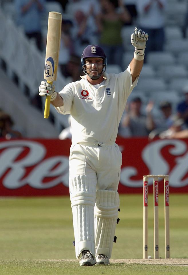 NOTTINGHAM, ENGLAND - JUNE 13: Graham Thorpe of England celebrates his century during the fourth day of the third npower Test Match between England and New Zealand at Trent Bridge on June 13, 2004 in Nottingham, England.  (Photo by Matthew Lewis/Getty Images)