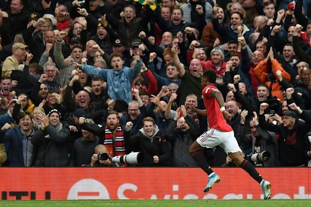 Marcus Rashford's controversial goal put Manchester United in front against Liverpool (AFP Photo/Oli SCARFF )