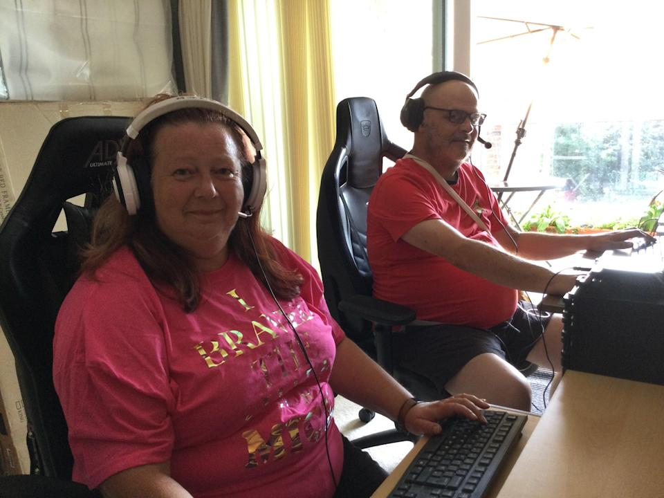 Computer games enthusiasts Fiona and Mick Maguire who are planning Mr Maguire's funeral and how to raise money for Macmillan Cancer Support together after he was diagnosed with terminal cancer (Macmillan Cancer Support/PA)