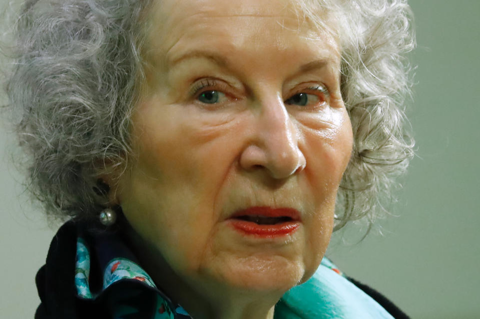 "Canadian author Margaret Atwood gives a press conference following the release of her new book 'The Testaments' a sequel to the award-winning 1985 novel ""The Handmaid's Tale"" in London on September 10, 2019. (Photo by Tolga AKMEN / AFP)        (Photo credit should read TOLGA AKMEN/AFP/Getty Images)"