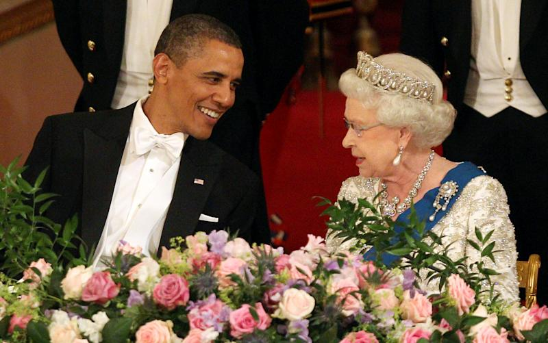 U.S. President Barack Obama and Queen Elizabeth II during a State Banquet in Buckingham Palace on May 24, 2011 in London, England.