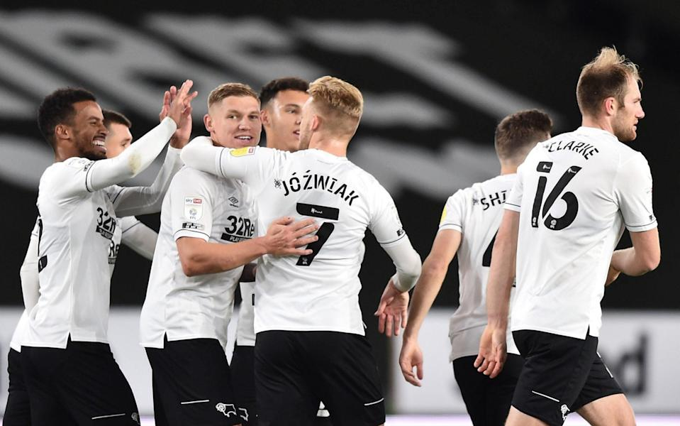 Martyn Waghorn of Derby County celebrates after he scores a free kick during the Sky Bet Championship match between Derby County and Cardiff City - GETTY IMAGES